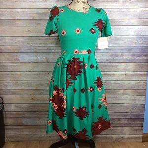LuLaRoe green, pink, red Aztec Print Amelia dress